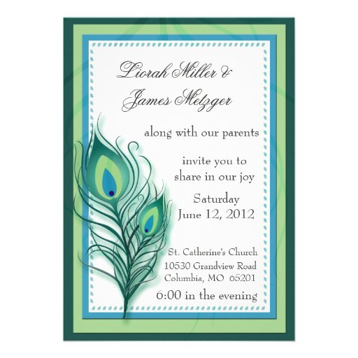 Peacock inspired Wedding Invitation