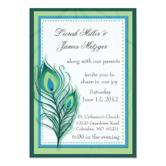 "Peacock inspired Wedding Invitation 5"" X 7"" Invitation Card"