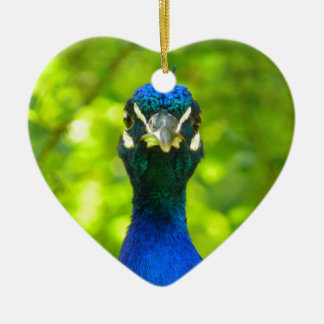 Peacock is watching you ceramic heart decoration