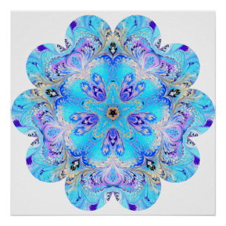 Peacock Kaleidoscope Flower Poster
