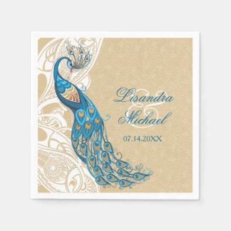 Peacock Lace Elegance 2 Wedding Napkins Disposable Serviettes