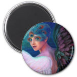 Peacock Lady's Wings of Duality 6 Cm Round Magnet