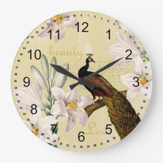 Peacock Lilies Large Clock