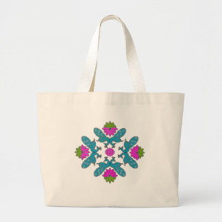 Peacock Lotus Rangoli Large Tote Bag