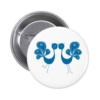 Peacock Love Aqua 6 Cm Round Badge