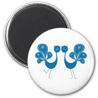 Peacock Love Aqua 6 Cm Round Magnet