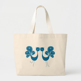 Peacock Love Aqua Canvas Bag