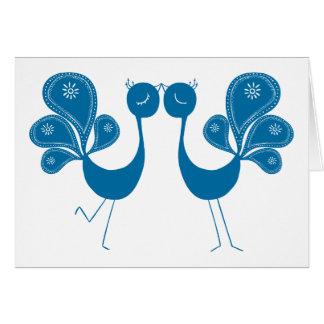 Peacock Love Aqua Greeting Card