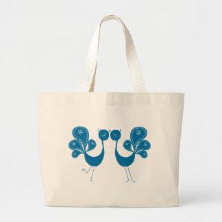 Peacock Love Aqua Jumbo Tote Bag