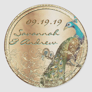Peacock Love Bird Gold Wedding Seal