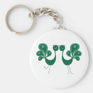 Peacock Love Forest Basic Round Button Key Ring