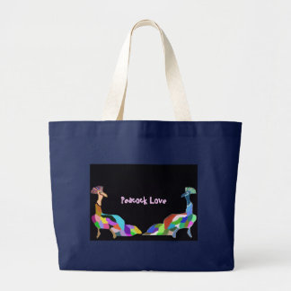Peacock Love Large Tote Bag