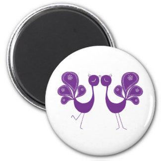 Peacock Love Lavender 6 Cm Round Magnet