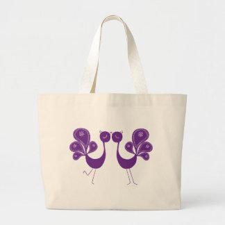 Peacock Love Lavender Jumbo Tote Bag