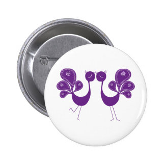 Peacock Love Lavender Pinback Buttons