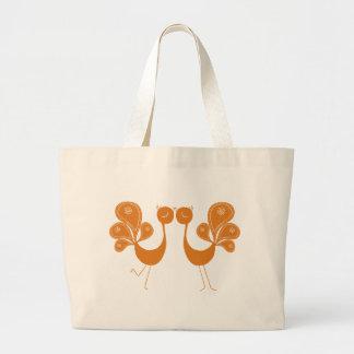 Peacock Love Marigold Jumbo Tote Bag