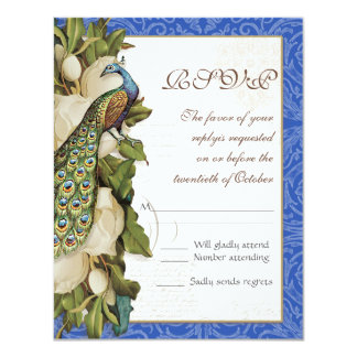 Peacock Magnolia Floral Swirl Damask Wedding RSVP Card