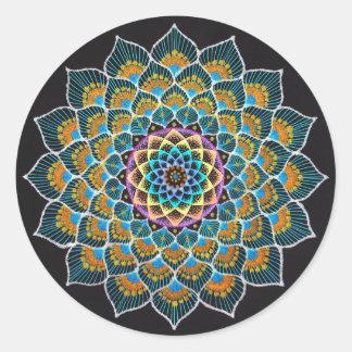 Peacock Mandala Classic Round Sticker