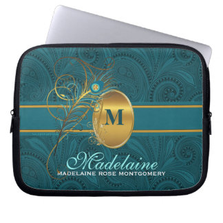 Peacock Monogrammed Elegant Teal Paisley and Gold Laptop Sleeve