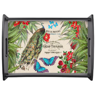 Peacock Morpho Butterfly Rose Flowers Serving Tray