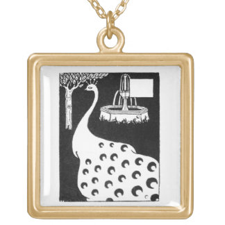 Peacock motif, from 'Le Morte d'Arthur' (litho) Gold Plated Necklace