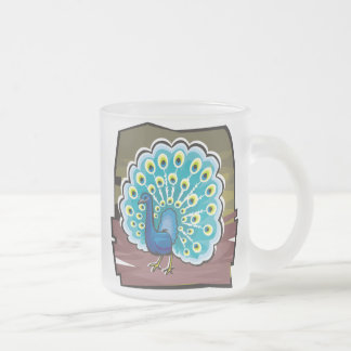 Peacock Frosted Glass Mug