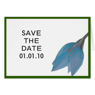 Peacock & Olive Flower Save the Date Greeting Card