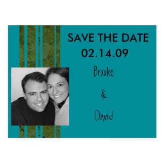 Peacock & Olive Photo Save the Date Postcard