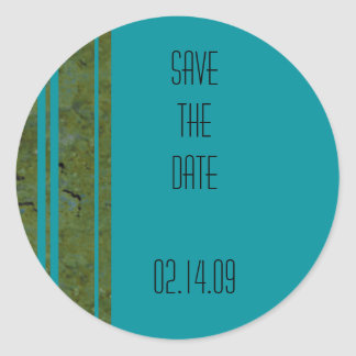 Peacock & Olive Stripe Save the Date Sticker