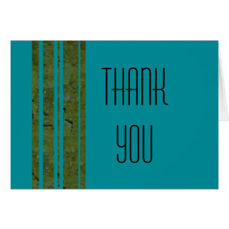 Peacock & Olive Stripe Thank You Note Greeting Card