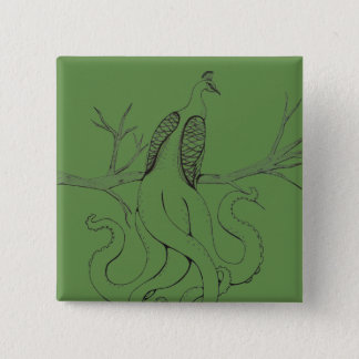 Peacock on a branch 15 cm square badge