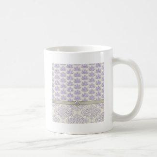 Peacock on Damask and Peacock Print, Lavender Basic White Mug