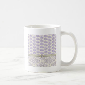 Peacock on Damask and Peacock Print Lavender Mugs