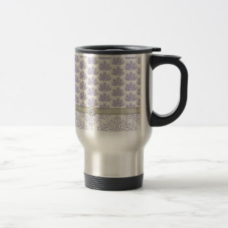 Peacock on Damask and Peacock Print, Lavender Stainless Steel Travel Mug