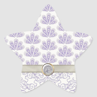 Peacock on Damask and Peacock Print, Lavender Star Sticker