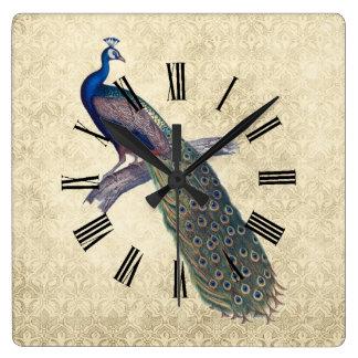 Peacock on Elegant Ivory Damask Wallclock