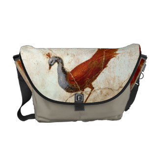 Peacock on Fresco Ancient Roman Antique Painting Messenger Bag