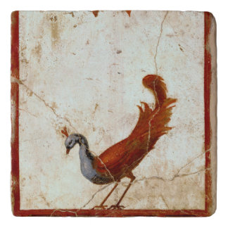 Peacock on Fresco Ancient Roman Antique Painting Trivet