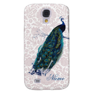 Peacock on Pink Damask Galaxy S4 Case