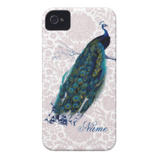Peacock on Pink Damask iPhone 4 Case