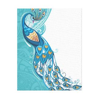 Peacock on Teal Illustration Canvas Print