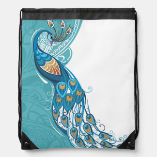 Peacock on Teal Illustration Drawstring Bag