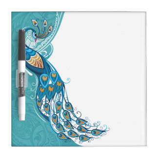 Peacock on Teal Illustration Dry Erase Board