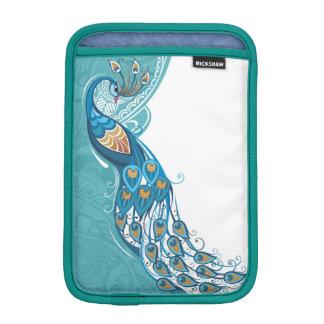 Peacock on Teal Illustration iPad Mini Sleeve
