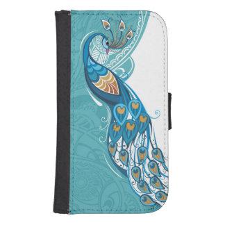 Peacock on Teal Illustration Samsung S4 Wallet Case