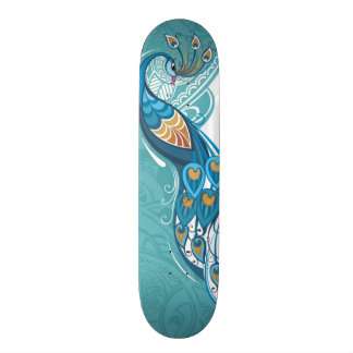 Peacock on Teal Illustration Skateboard