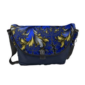 Peacock Ore 7 - Royal Blues/Golds/Silver Messenger Bag