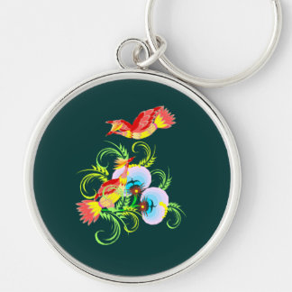 Peacock Pair Silver-Colored Round Key Ring