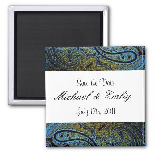 Peacock Paisley Indian Wedding Invitations Square Magnet