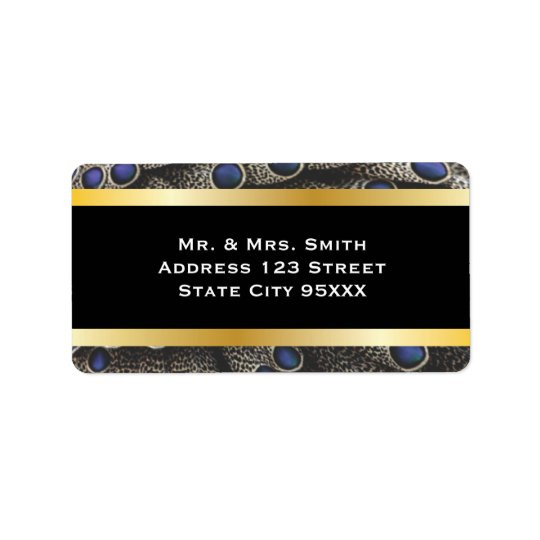 Peacock Pattern and Gold Bands Label